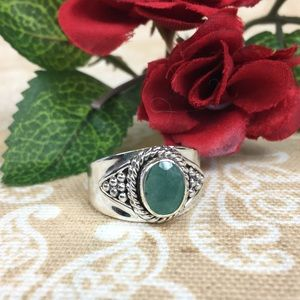 Artisan Crafted Emerald Sakota Sterling Ring
